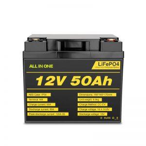 12V 50Ah Rchargeable Deep Cycle Lifepo4 մարտկոցների տուփ էլեկտրական էներգիայի համակարգի համար