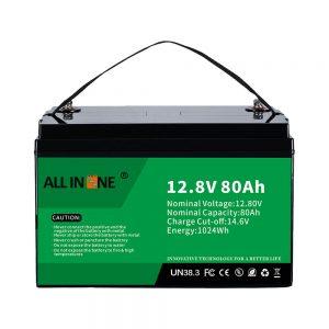 Ամենահայտնի կապարի թթու փոխարինող արևային RV Marine LiFePO4 12V 80Ah լիթիումի մարտկոց