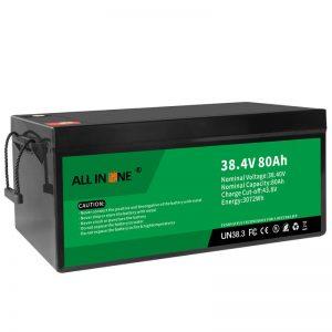 38.4V 80Ah LiFePO4 կապարի թթու փոխարինող լիթիումի իոնային մարտկոցների փաթեթ, 36V 80Ah